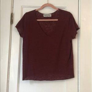 Maroon Project Social T V Neck